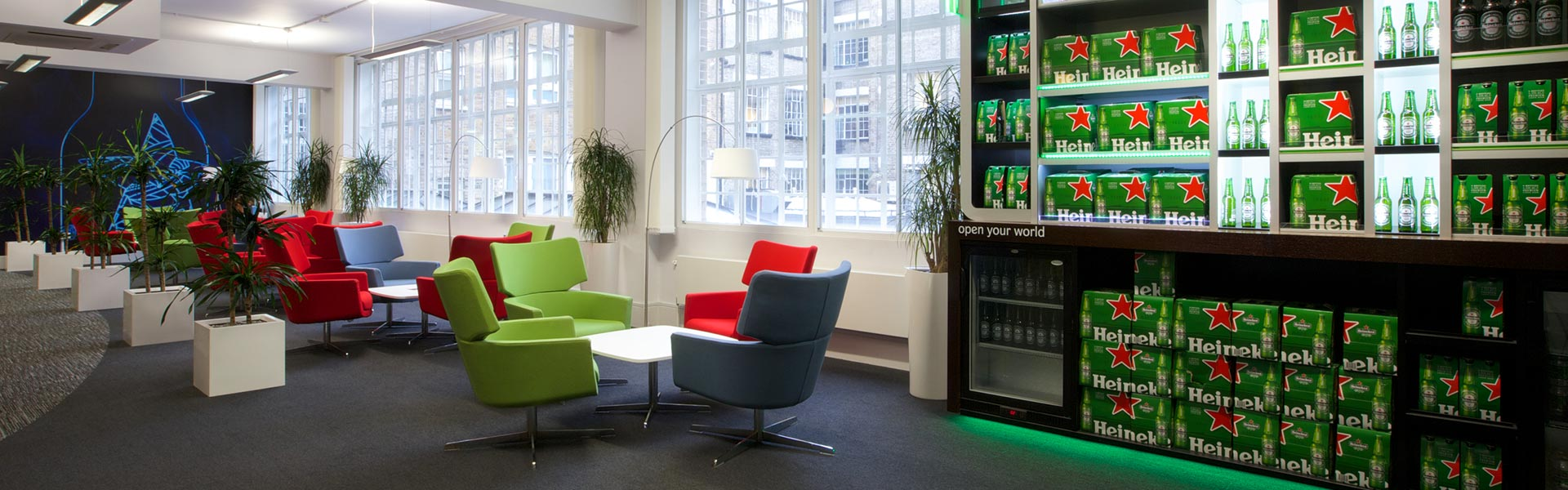 workplace design for heineken by bulb interiors